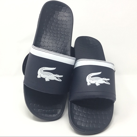 f20e7e0371a6 Lacoste Men s Dark Blue White Fraisier Slides